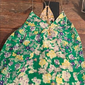 Rebecca Taylor Green Floral Halter Top Size 4
